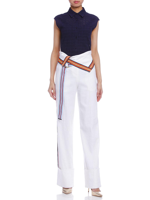 【65%OFF】配色テープ ベルト付 センタープレス パンツ ホワイト 4 ファッション > レディースウエア~~パンツ