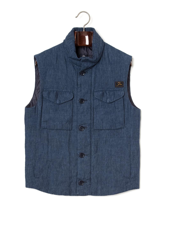 【67%OFF】中綿入 スタンドカラー ベスト ネイビー s ファッション > メンズウエア~~ジャケット