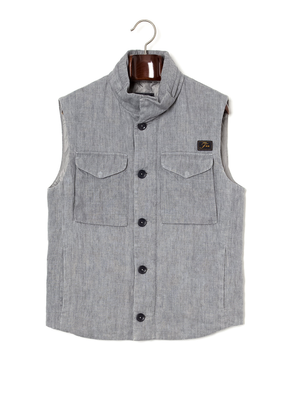 【67%OFF】中綿入 スタンドカラー ベスト ライトグレー s ファッション > メンズウエア~~ジャケット