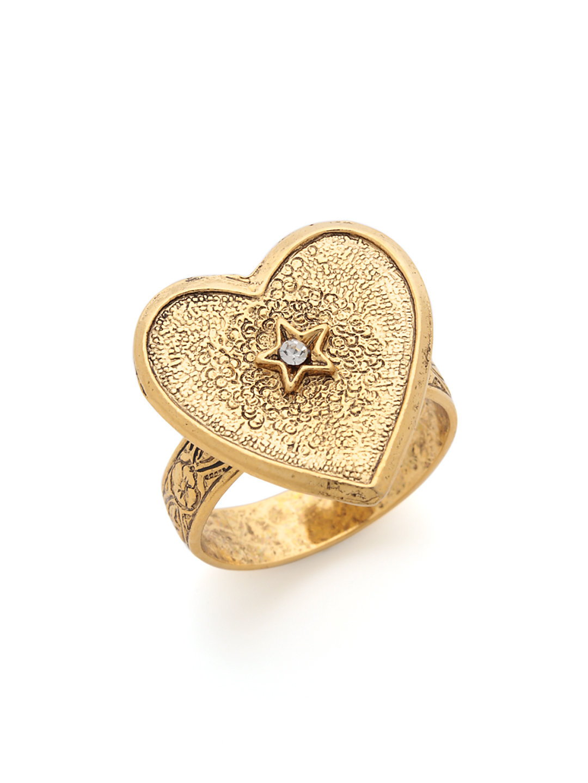 【50%OFF】22K アンティークゴールド プレーテッドブラス ハート リング アンティークゴールド ファッション > アクセサリー~~指輪~~レディース リング
