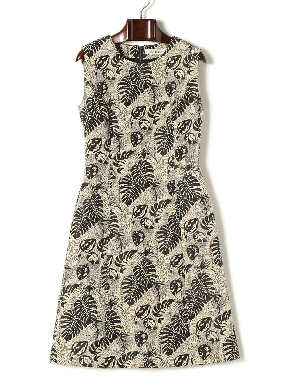 【50%OFF】リーフプリント ノースリーブドレス ブラック 38 ファッション > レディースウエア~~ワンピース