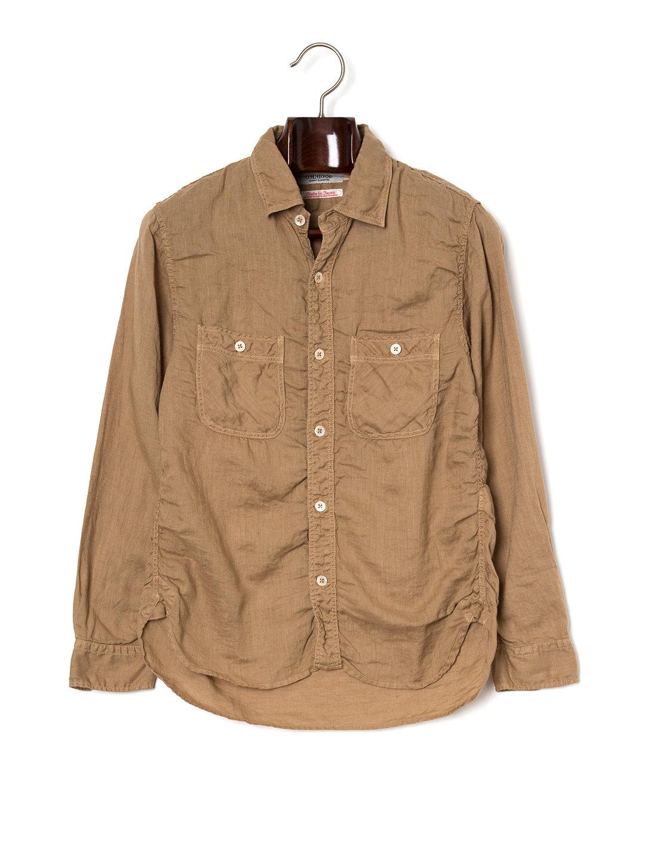 【50%OFF】シャーリング 長袖 ワークシャツ ベージュ 4 ファッション > メンズウエア~~その他トップス