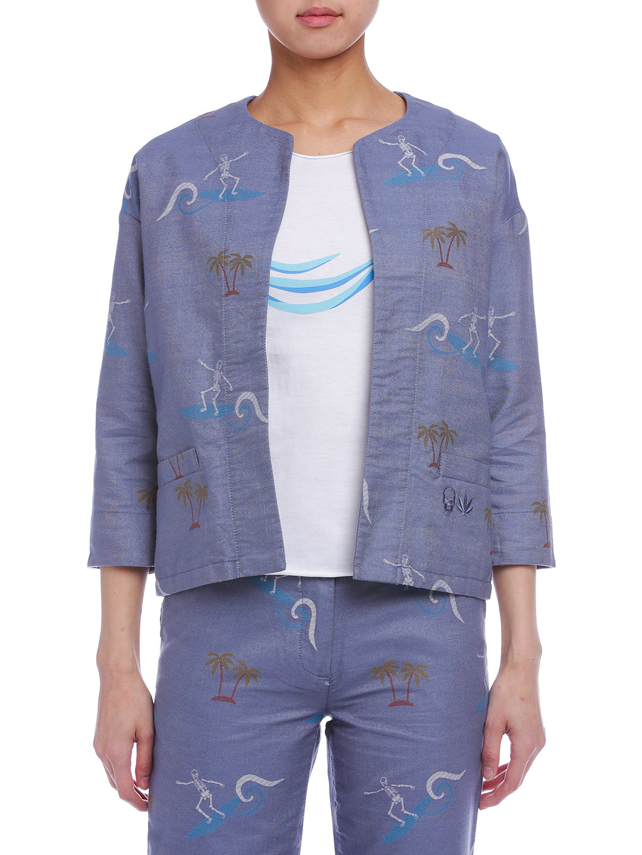 【50%OFF】PLFT プリント 七分袖 ノーカラー オープンジャケット ブルー s ファッション > レディースウエア~~ジャケット