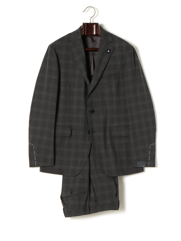 【50%OFF】LARDINI シルク混 バッジ付 チェック柄 スーツ グレーチェック 50 ファッション > メンズウエア~~スーツ