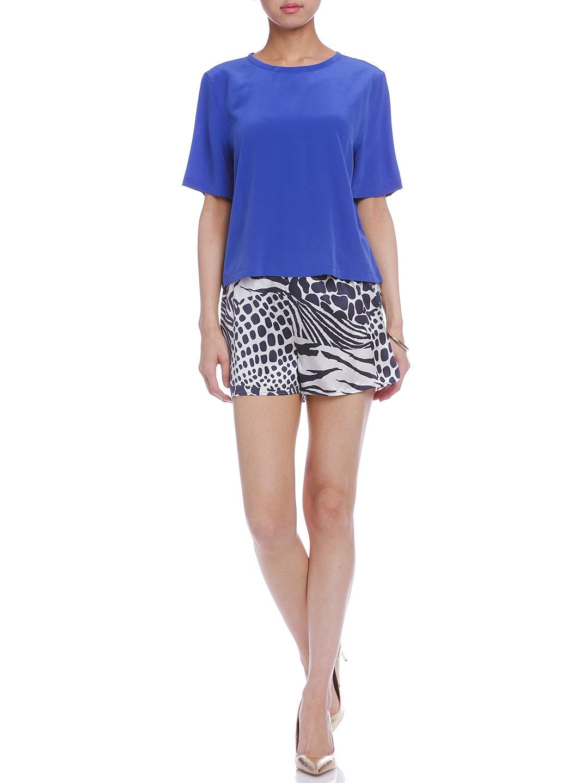 【50%OFF】LANDIS シルク プリント ショートパンツ ネイビー s ファッション > レディースウエア~~パンツ~~ショートパンツ