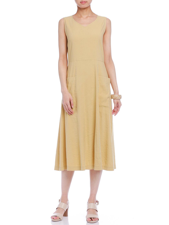 【50%OFF】Vネック ポケット ノースリーブドレス ベージュ 40 ファッション > レディースウエア~~ワンピース