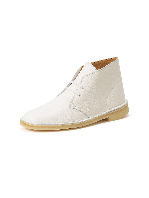【70%OFF】レザー デザートブーツ ホワイト 110 ファッション > 靴~~メンズシューズ