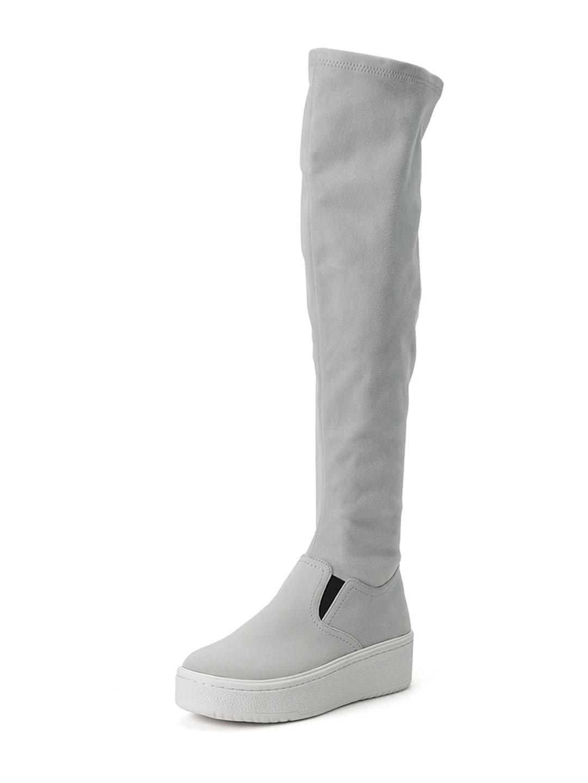 【50%OFF】厚底 ニーハイ スニーカーブーツ グレー l ファッション > 靴~~レディースシューズ