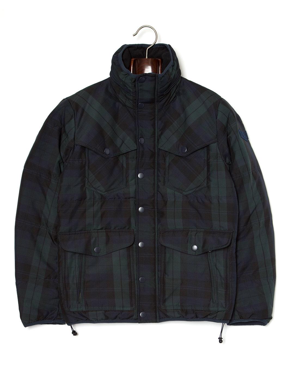 【70%OFF】ブラックウォッチ スタンドカラー 2WAYフード ダウンブルゾン ブラックウォッチ s ファッション > メンズウエア~~ジャケット
