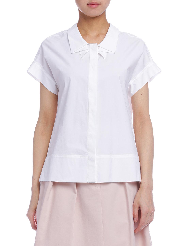 【60%OFF】ストレッチ デザインカラー 半袖ブラウス ホワイト 38 ファッション > レディースウエア~~その他トップス