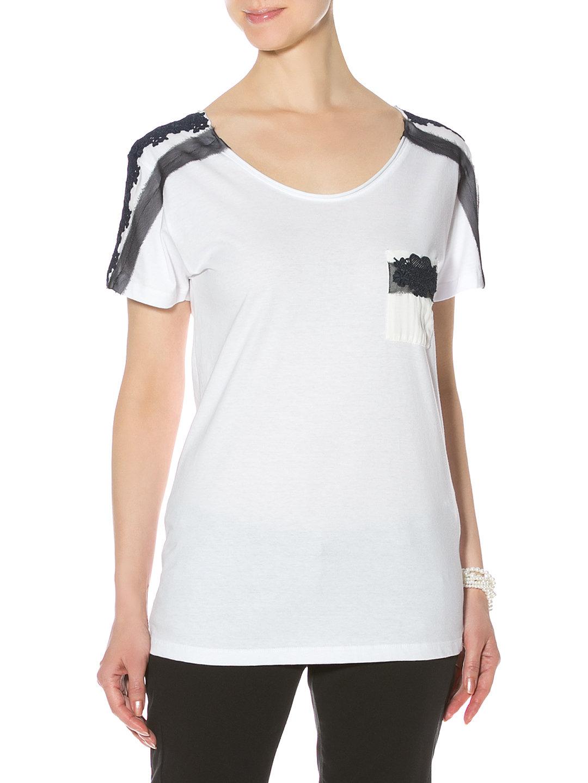 【78%OFF】チュール&レース切替デザイン ラウンドネック 半袖Tシャツ ホワイト s ファッション > レディースウエア~~その他トップス