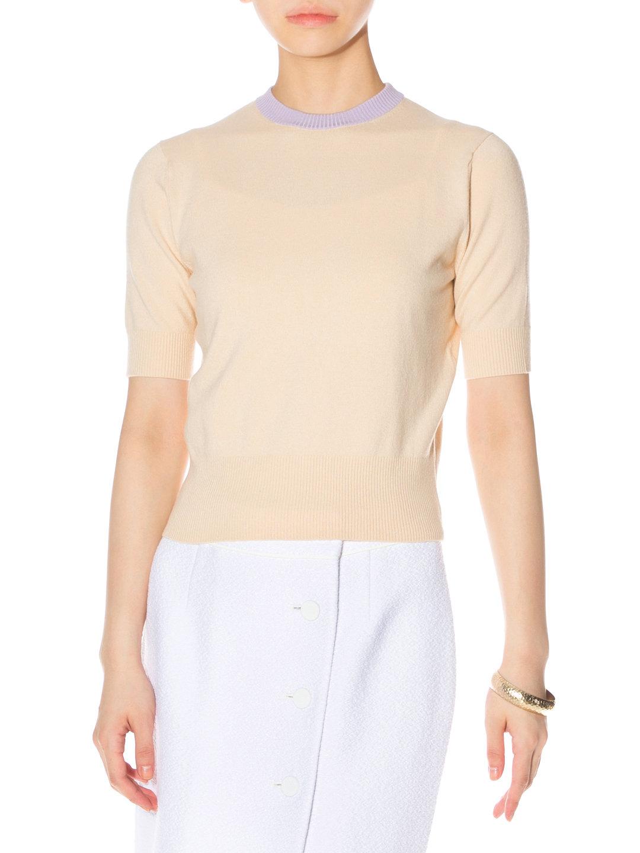 【89%OFF】シルク混 配色ネック 半袖 ニットプルオーバー ペールベージュ t7 ファッション > レディースウエア~~その他トップス