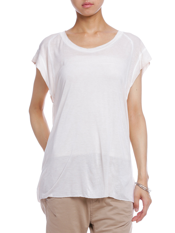 【77%OFF】ラウンドネック フレンチスリーブ Tシャツ オフホワイト s ファッション > レディースウエア~~その他トップス