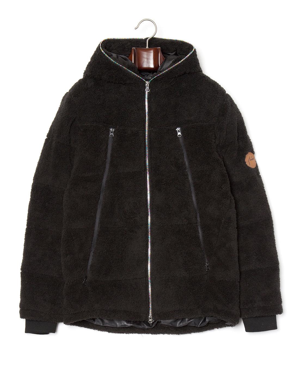 【30%OFF】ボア フーデッド ダブルジップ ダウンジャケット ブラック xl ファッション > メンズウエア~~ジャケット