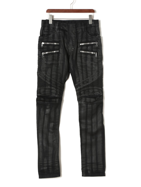 【80%OFF】ワックス ダブルジップポケット バイカーデニム ブラック 27 ファッション > メンズウエア~~パンツ