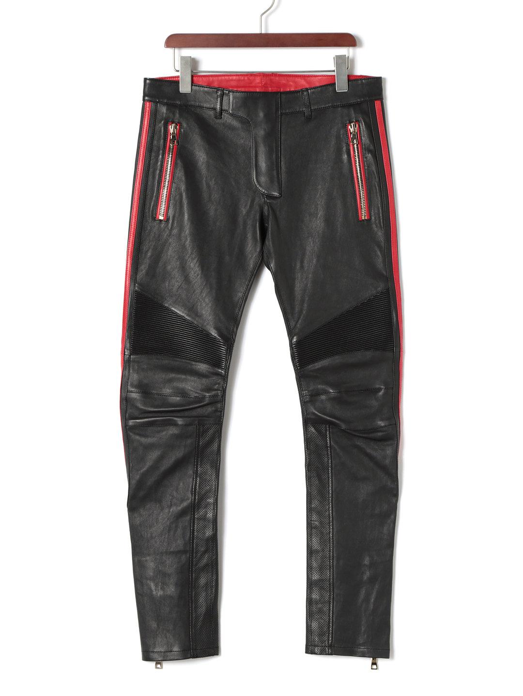 【80%OFF】シープレザー カラーライン バイカーパンツ レッドxブラック 50 ファッション > メンズウエア~~パンツ
