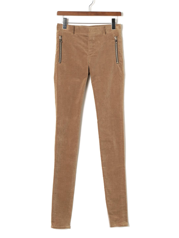 【80%OFF】ストレッチ ベルベット ジップポケット スキニーパンツ サンド 44 ファッション > メンズウエア~~パンツ