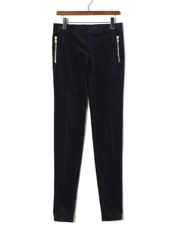 【80%OFF】ストレッチ ベルベット ジップポケット スキニーパンツ ネイビー 46 ファッション > メンズウエア~~パンツ