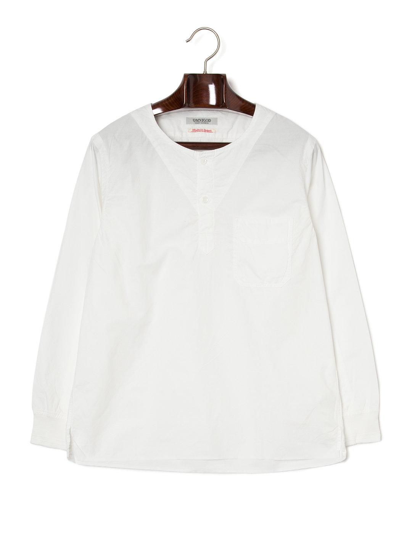 【50%OFF】ヘンリーネック ポケット 長袖トップ ホワイト 2 ファッション > メンズウエア~~その他トップス