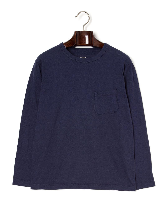 【50%OFF】クルーネック ポケット 長袖トップ ネイビー 3 ファッション > メンズウエア~~その他トップス
