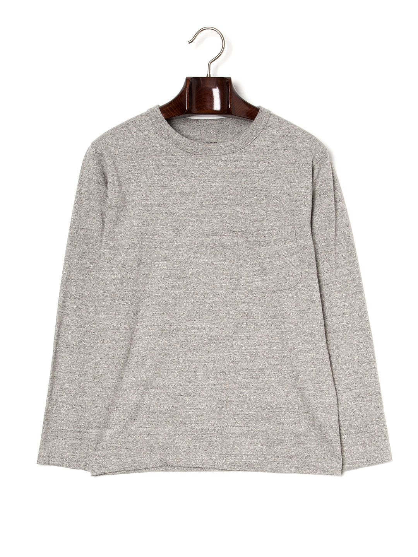 【47%OFF】クルーネック ポケット 長袖トップ グレー 4 ファッション > メンズウエア~~その他トップス
