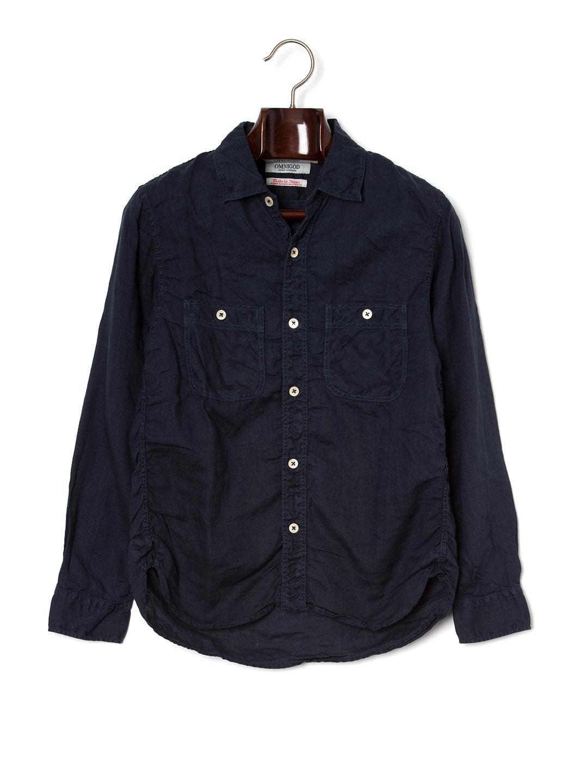 【50%OFF】シャーリング 長袖 ワークシャツ ネイビー 2 ファッション > メンズウエア~~その他トップス