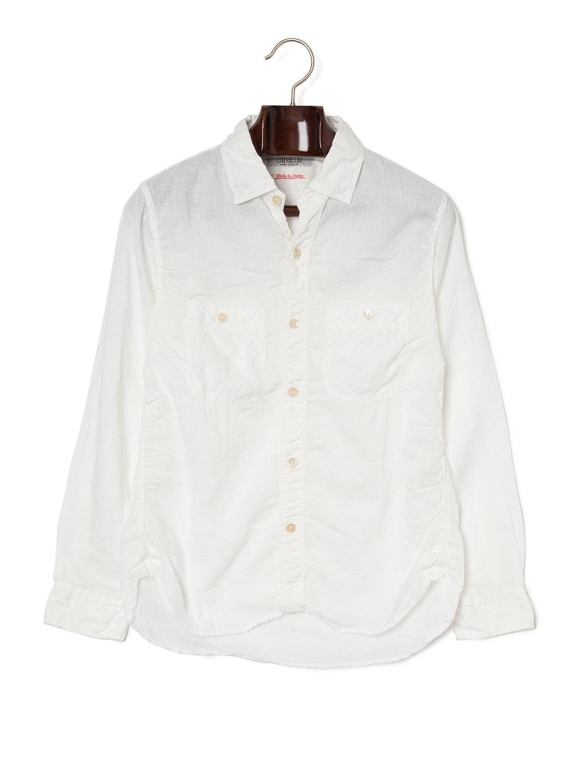 【50%OFF】シャーリング 長袖 ワークシャツ ホワイト 3 ファッション > メンズウエア~~その他トップス