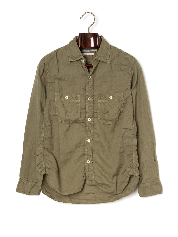 【50%OFF】シャーリング 長袖 ワークシャツ オリーブ 2 ファッション > メンズウエア~~その他トップス