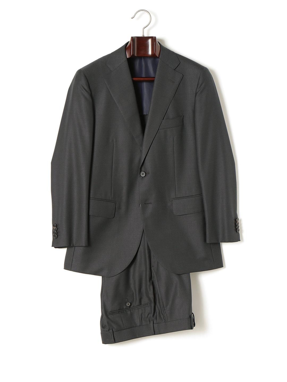 【70%OFF】CANONICO シルク混 背抜き サイドノータック 2ボタンスーツ チャコールピンヘッド 42b ファッション > メンズウエア~~スーツ