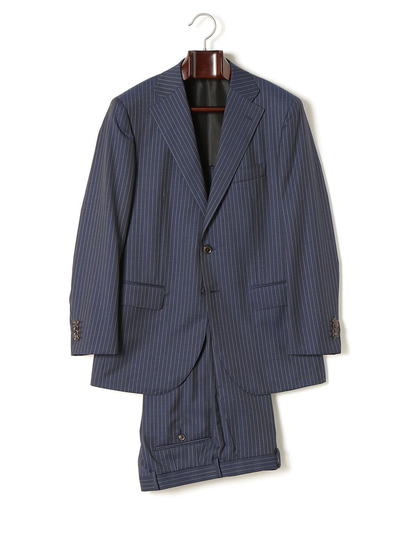 【70%OFF】GUABELLO モヘヤ混 ストライプ 背抜き サイドノータック スーツ ネイビーストライプ 48a ファッション > メンズウエア~~スーツ