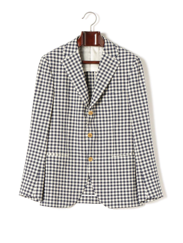 【70%OFF】ギンガムチェック ノッチドラペル テーラードジャケット ネイビーギンガムチェック 42 ファッション > メンズウエア~~スーツ