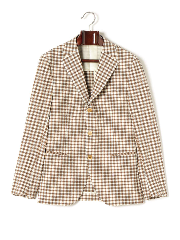 【70%OFF】ギンガムチェック ノッチドラペル テーラードジャケット ブラウンギンガムチェック 48 ファッション > メンズウエア~~スーツ