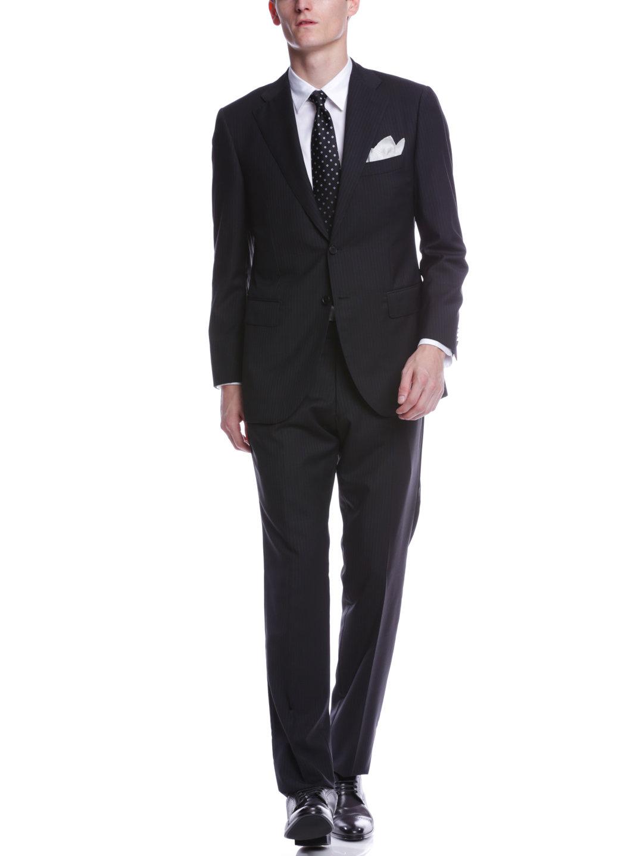【70%OFF】シャドーストライプ ノッチドラペル スーツ ブラックシャドーストライプ 50b ファッション > メンズウエア~~スーツ