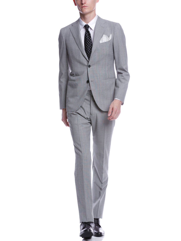【70%OFF】ストライプ ノッチドラペル スーツ ライトグレーストライプ 48 ファッション > メンズウエア~~スーツ
