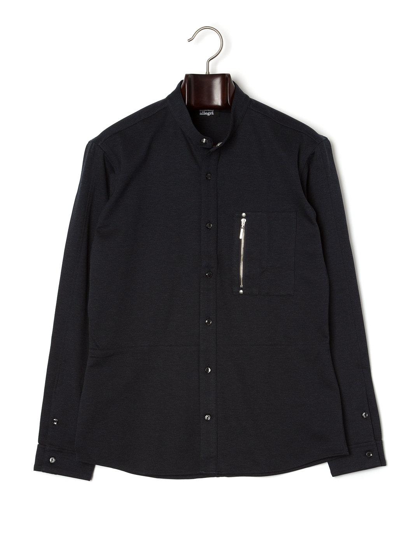 【73%OFF】スタンドカラー シャツジャケット ネイビー 48 ファッション > メンズウエア~~その他トップス
