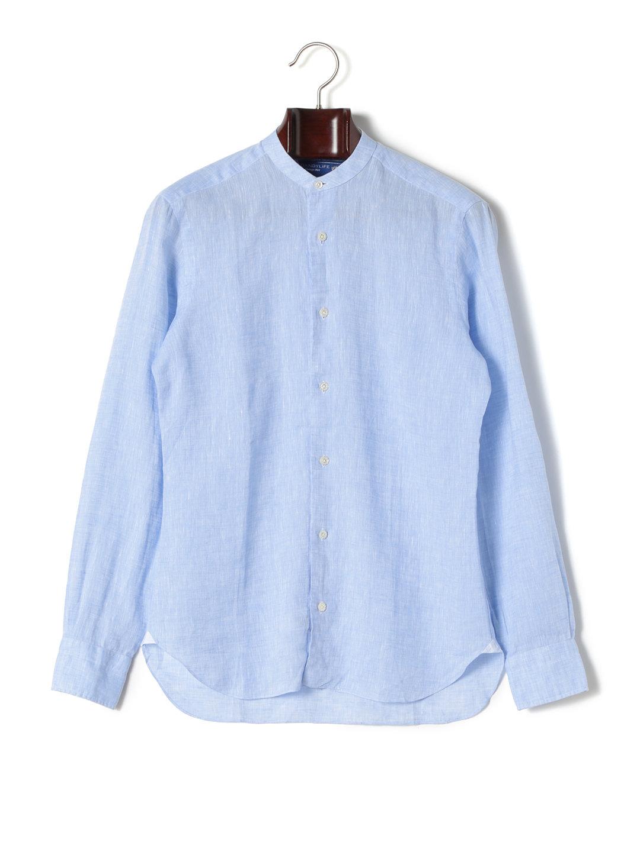 【50%OFF】BARBA バンドカラー 長袖シャツ ライトブルー 38 ファッション > メンズウエア~~その他トップス