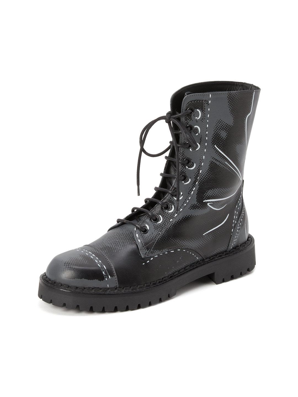 【62%OFF】レザー フェイクプリント レースアップブーツ グレー 20 ファッション > 靴~~メンズシューズ