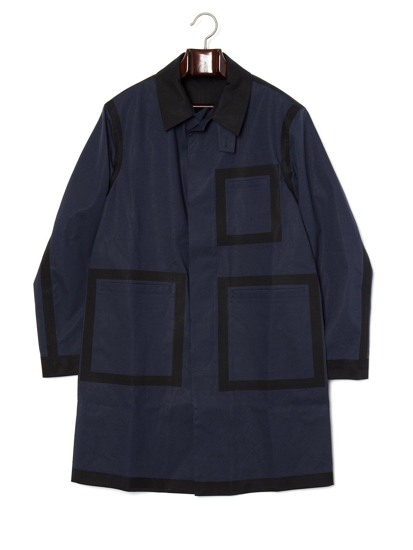 【70%OFF】STELLA スクエアxラインデザイン 切替 ステンカラー 比翼 コート ネイビー s ファッション > メンズウエア~~ジャケット