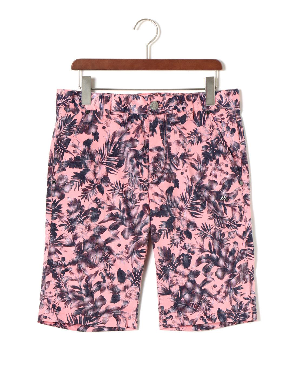 【50%OFF】ボタニカル柄 プリント ワッペン ハーフパンツ ライトピンク 85 ファッション > メンズウエア~~パンツ